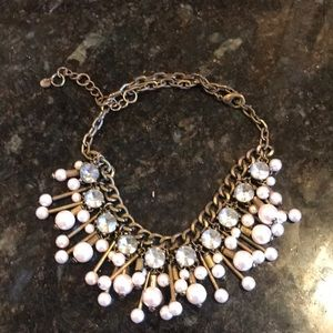 Loft pearl and crystal statement necklace